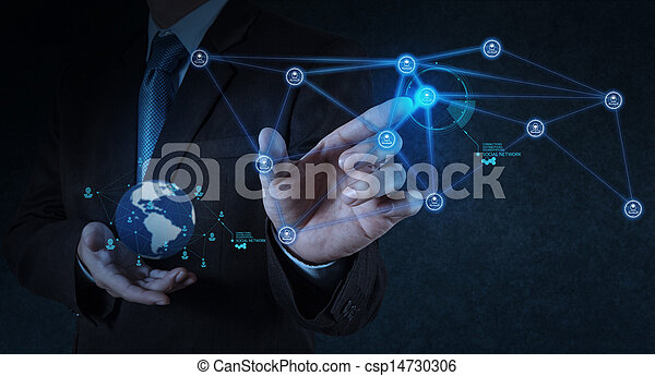 businessman working with new modern computer show social network structure - csp14730306