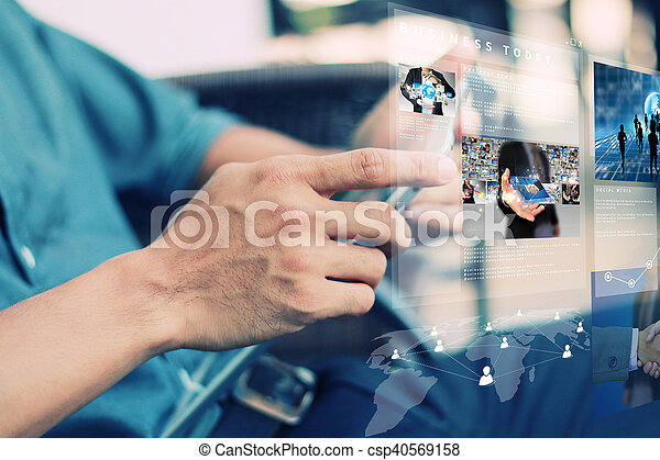 Businessman working with tablet and virtual screen interface. - csp40569158
