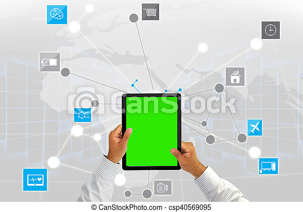 Businessman working with tablet green screen.Social media background - csp40569095