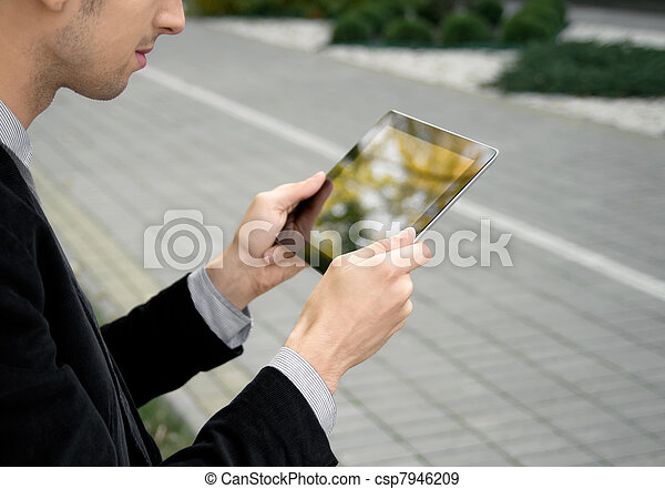 Businessman Working With Tablet PC - csp7946209