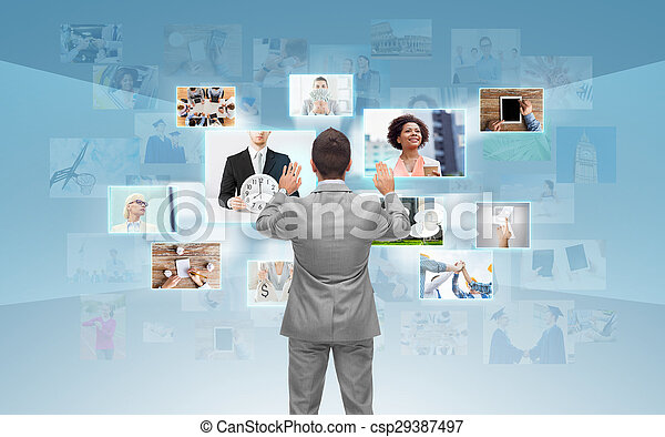 businessman working with virtual screen - csp29387497