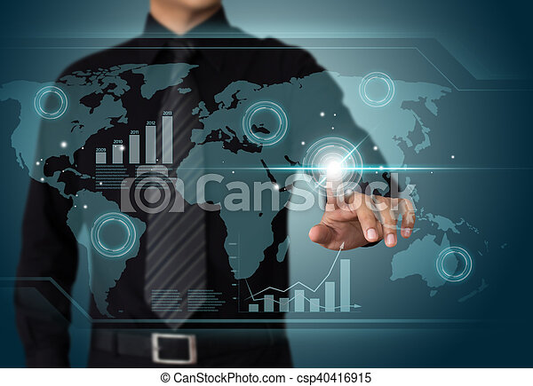 Businessman working wth touch screen technology - csp40416915