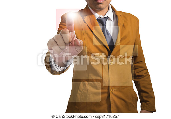 Businessman works with huge touch screen - csp31710257