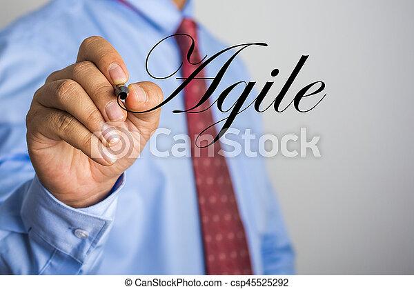 Businessman writing Agile word on virtual screen - csp45525292