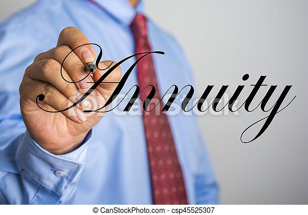Businessman writing Annuity word on virtual screen - csp45525307