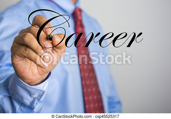 Businessman writing Career word on virtual screen - csp45525317