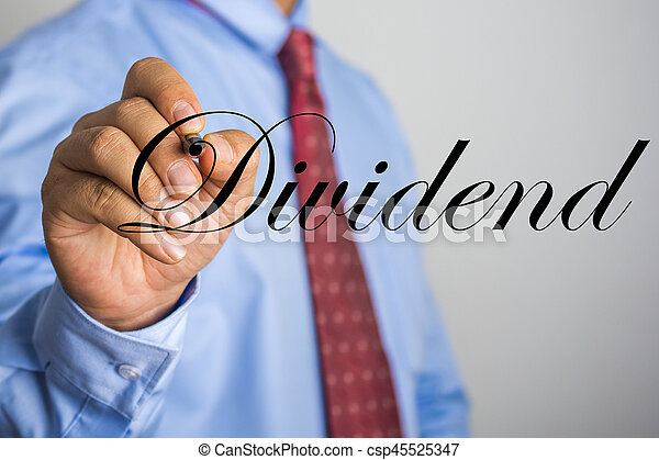 Businessman writing Dividend word on virtual screen - csp45525347