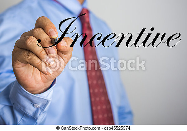 Businessman writing Incentive word on virtual screen - csp45525374