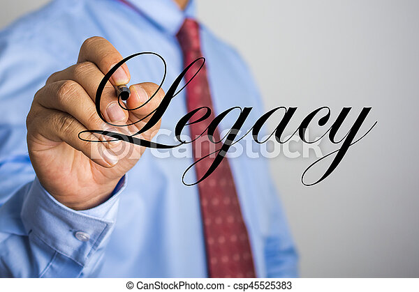 Businessman writing Legacy word on virtual screen - csp45525383