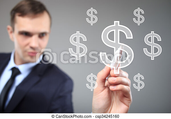 Businessman writing on screen with virtual background. dollar icon - csp34245160