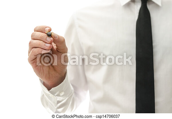 Businessman writing on virtual screen - csp14706037