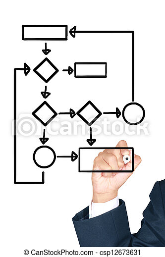 Businessman writing on white board - csp12673631