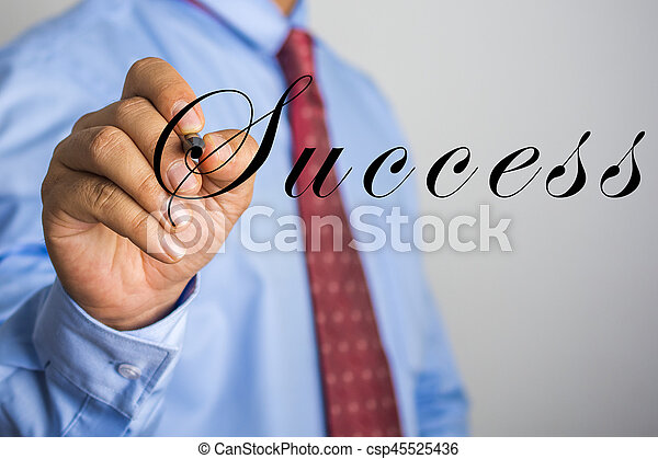 Businessman writing Success on virtual screen - csp45525436