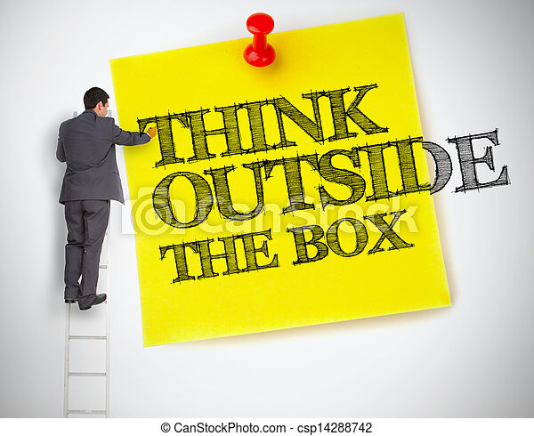 Businessman writing think outside the box on a post it - csp14288742