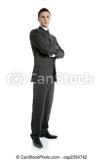 Businessman young stand up, full length on white - csp2354742