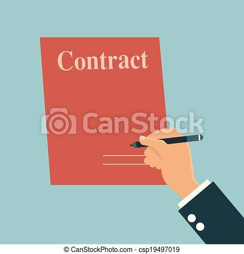 Businessman's hand with pen and contract signature. - csp19497019