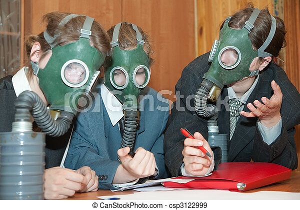businessmans  in a gas mask - csp3122999