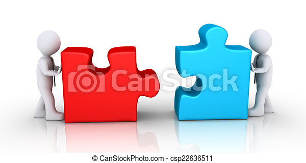 businessmen about to connect puzzle pieces two 3d businessmen are