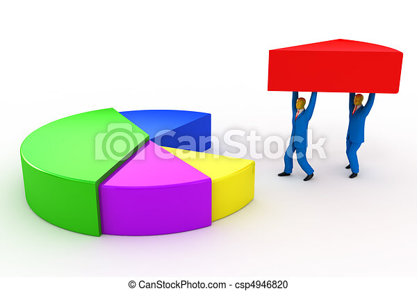 Businessmen and pie chart  - csp4946820