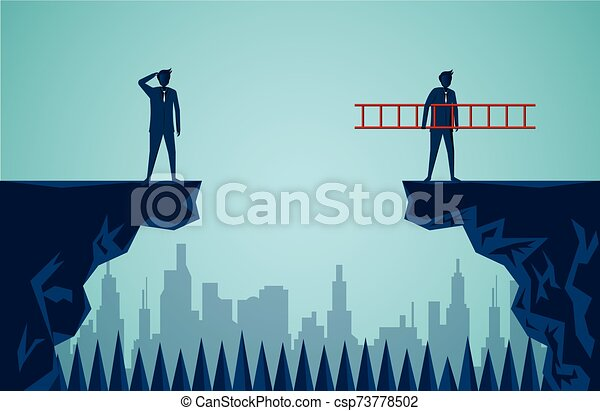 Businessmen are competing across the cliff to the goal opposite the stair red go to success goal. to overcome obstacle for the ultimate target. business finance. advantage. victory. cartoon vector - csp73778502
