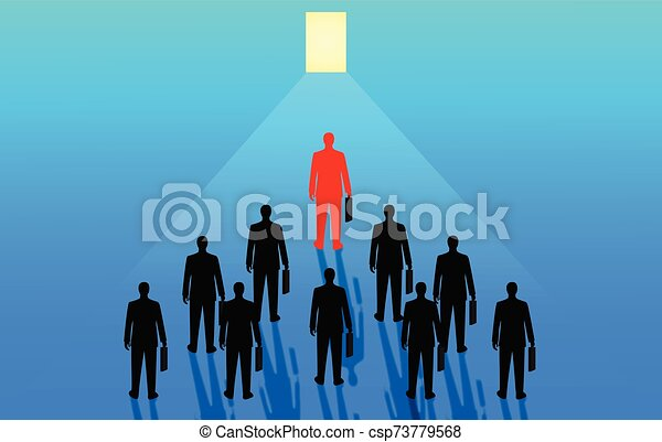 Businessmen are competing for the ultimate organizational success. The goal is to open the door to success. Business Advancement in Business - csp73779568