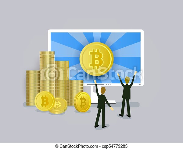 Businessmen, computer and stacks of bitcoin coins - csp54773285