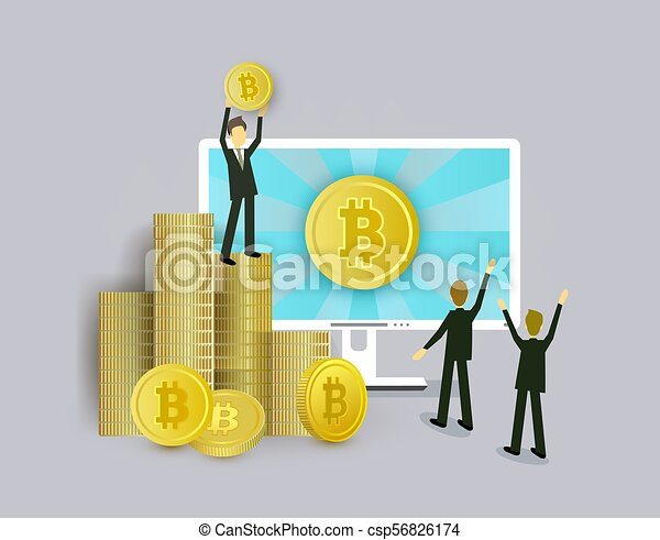 Businessmen, computer and stacks of bitcoin coins - csp56826174