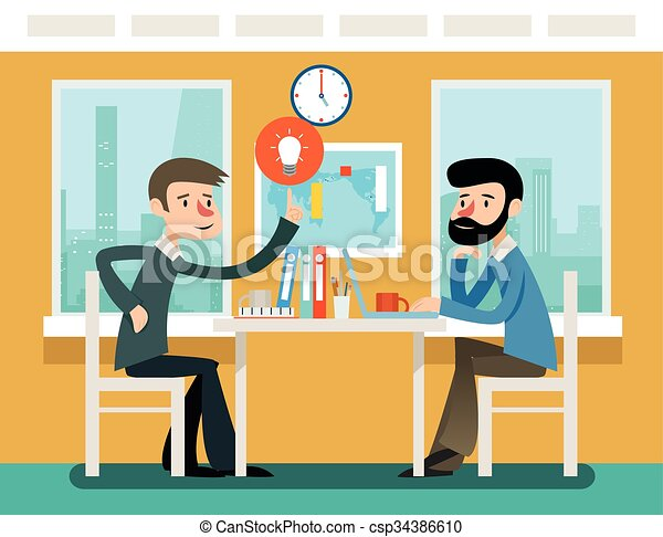 Businessmen discussing strategy sitting at office desk. Vector illustration in flat style - csp34386610