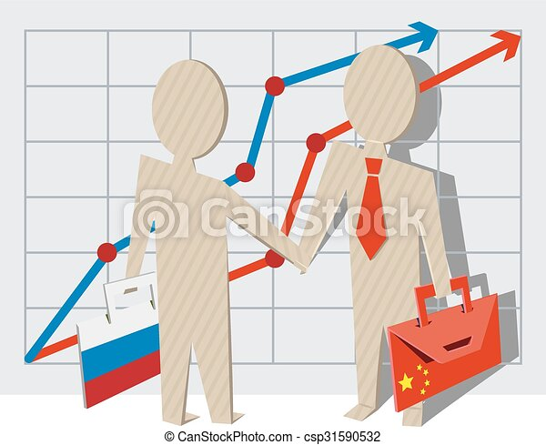 Businessmen of Russia and China - csp31590532