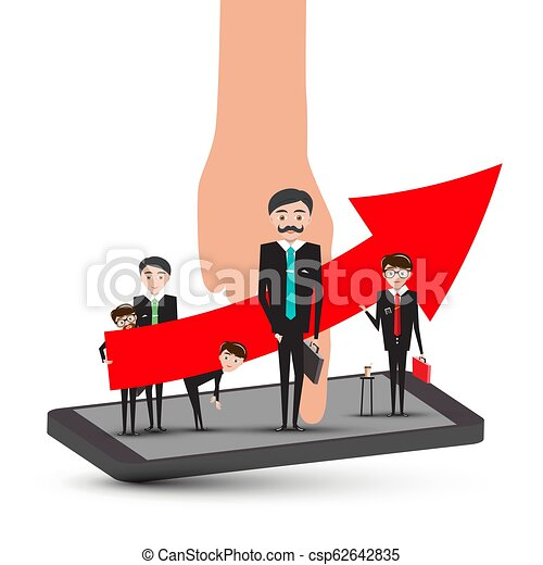 Businessmen on Mobile Phone with Hand and Big Up Red Arrow. Success in Busines Concept. Corporate Team Vector. - csp62642835