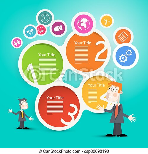 Businessmen or Teachers with Circle Paper Infographic Layout and Technology Icons - csp32698190
