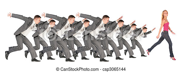 Businessmen run for the girl collage - csp3065144