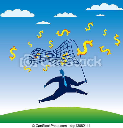 businessmen run to catch the dollar - csp13082111