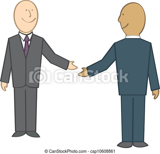 businessmen shaking hands two cartoon businessmen about to clip rh canstockphoto com cartoon pictures of shaking hands cartoon images shaking hands