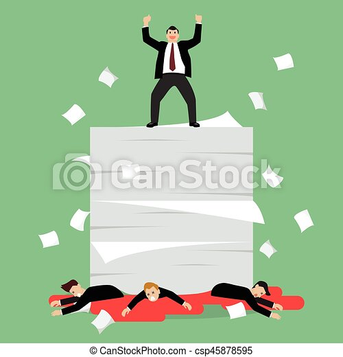 Businessmen standing over a lot of documents and his enemy - csp45878595