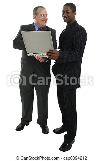 Businessmen Standing with Laptop Computer - csp0094212