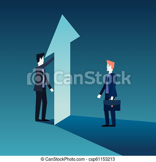 businessmen team with financial arrow growth - csp61153213