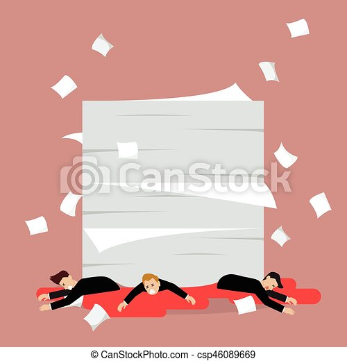 Businessmen under a lot of documents - csp46089669