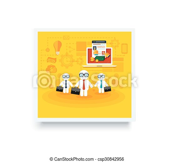 Businessmen with cases go on a meeting - csp30842956