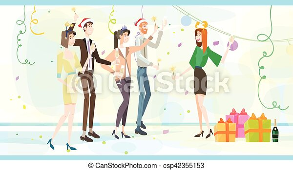 2afa1b08f04cc Businesspeople Celebrate Merry Christmas And Happy New Year Business People  Team Santa Hat