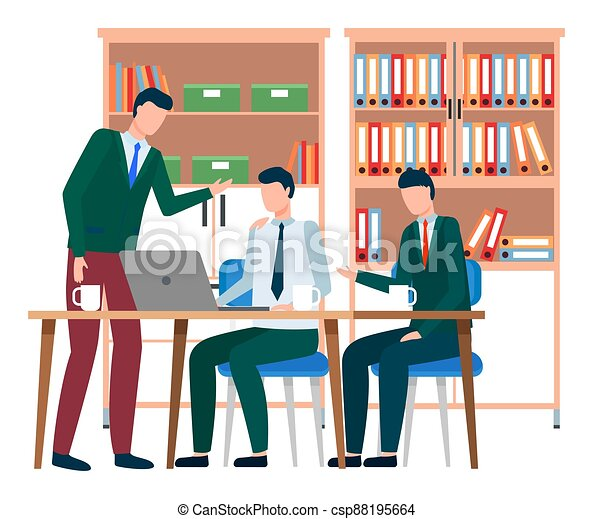 Businesspeople communicating, discuss a project. Business meeting, working process in office room - csp88195664
