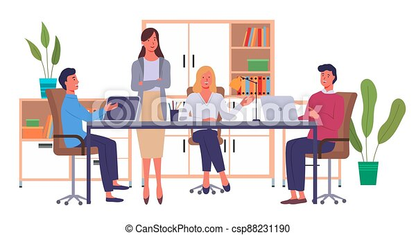 Businesspeople communicating, discuss a project. Business meeting, working process in office room - csp88231190