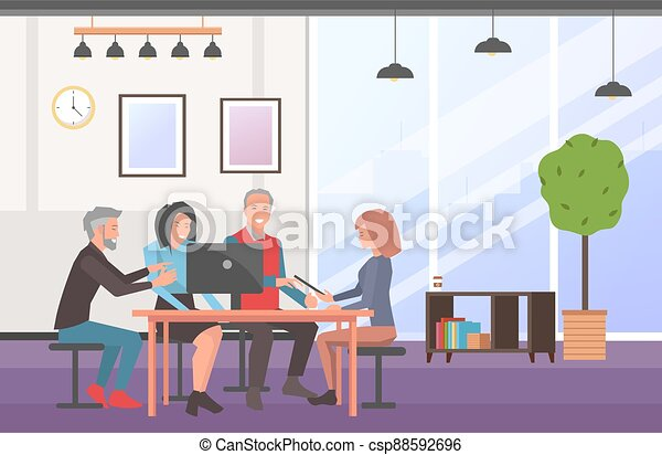 Businesspeople communicating, discuss a project. Business meeting, working process in office room - csp88592696
