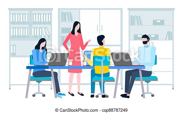 Businesspeople communicating, discuss a project. Business meeting, working process in office room - csp88787249
