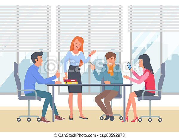Businesspeople communicating, discuss a project. Business meeting, working process in office room - csp88592973