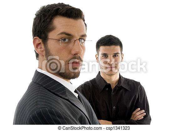 businesspeople, do góry, patrząc, aparat fotograficzny, zamknięcie, prospekt - csp1341323