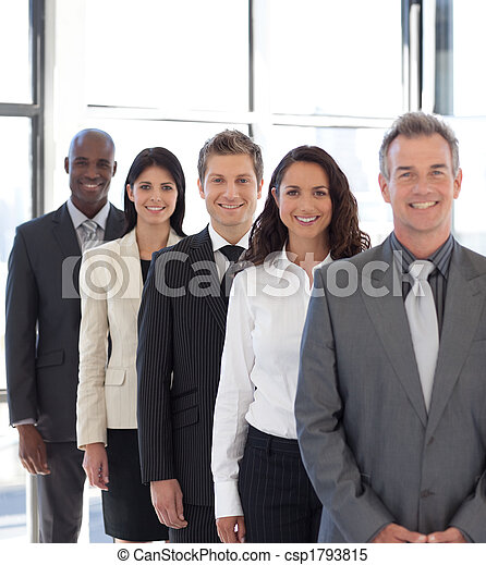 businesspeople from different cultures looking at camera - csp1793815