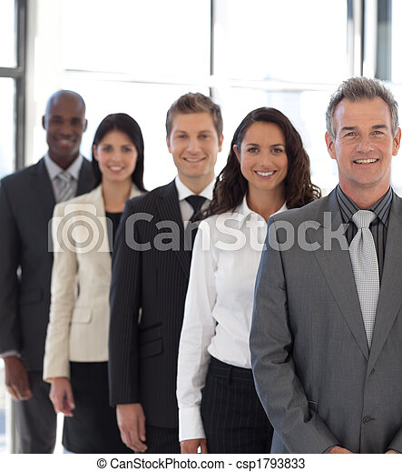 businesspeople from different cultures looking at camera - csp1793833