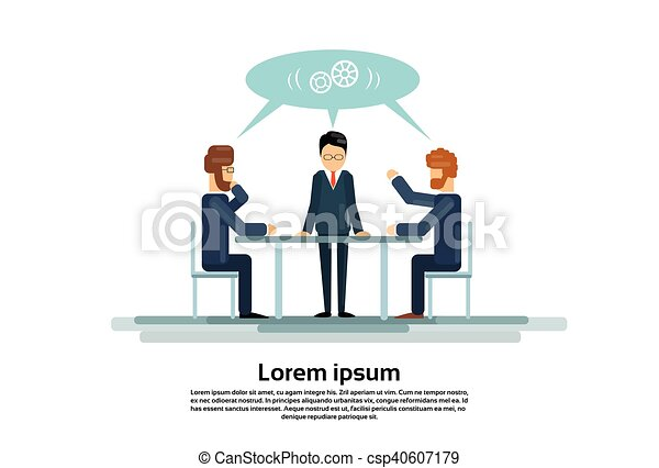 Businesspeople Group Working Creative Team Business People Sitting Office Desk - csp40607179