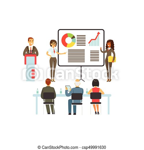 businesspeople making presentation and explaining chart on a